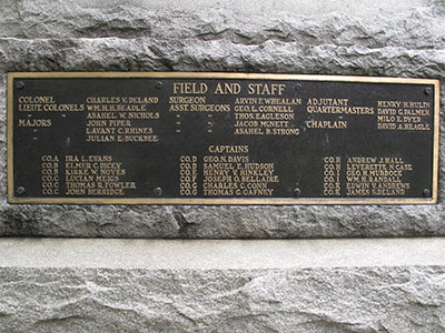 Tablet recognizing the field and staff and captains of the regiment. Photo ©2014 Look Around You Ventures, LLC.