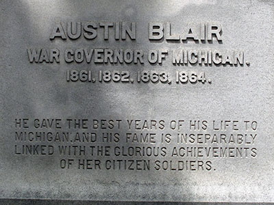 Governor Austin Blair statue, located in front of Michigan's Capitol. Photo ©2014 Look Around You Ventures, LLC.