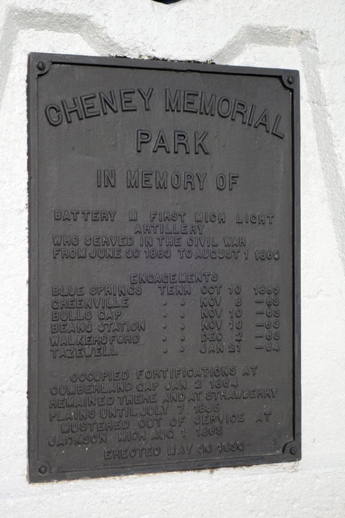 Cheney Memorial Park Cannon Monument detail. Image ©2016 Look Around You Ventures, LLC.