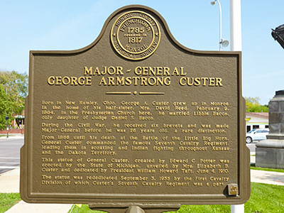 County historic marker dediated to George Custer in Monroe. Image ©2015 Look Around You Ventures, LLC.