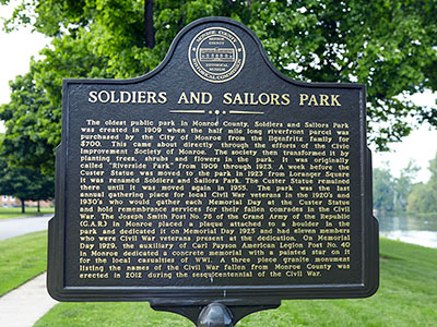 Monroe Soldiers and Sailor Park historic marker. Image ©2015 Look Around You Ventures, LLC.