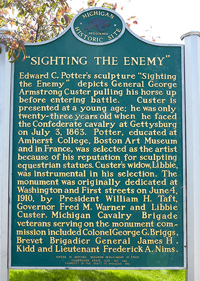 State historic marker front dediated to George Custer in Monroe. Image ©2015 Look Around You Ventures, LLC.